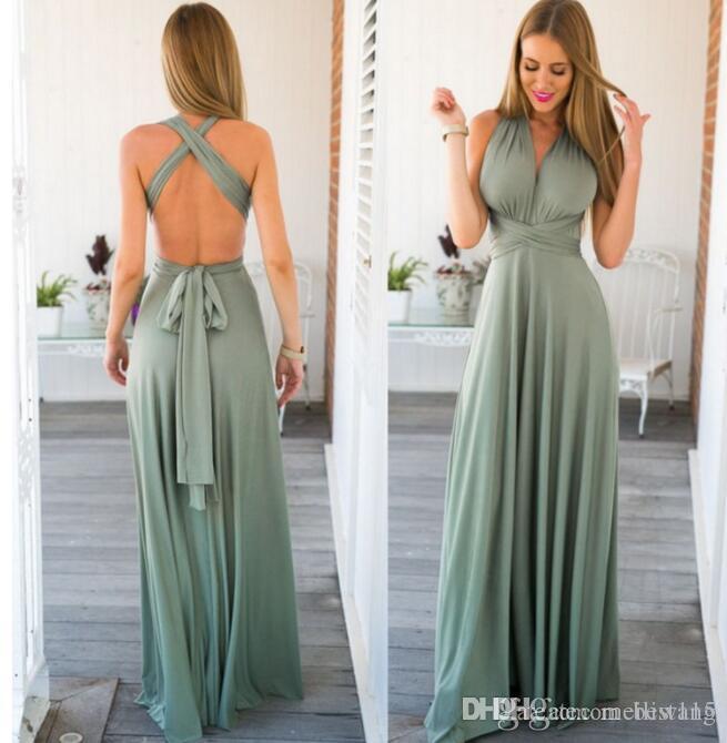 e9f9e38fb5937 Dress Women Long Summer Convertible Bohemian Dresses Casual Bandage Evening  Prom Club Party Infinity Multiway Maxi Dresses