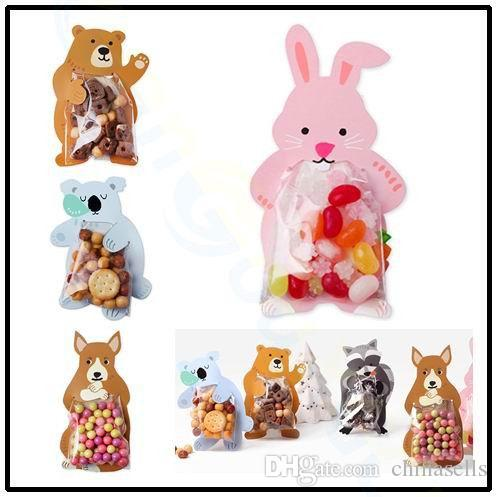 Children day Cartoon Animal Rabbit bear Candy Bag cookie baking bag birthday festival party gift bags greeting cards 10pcs/set