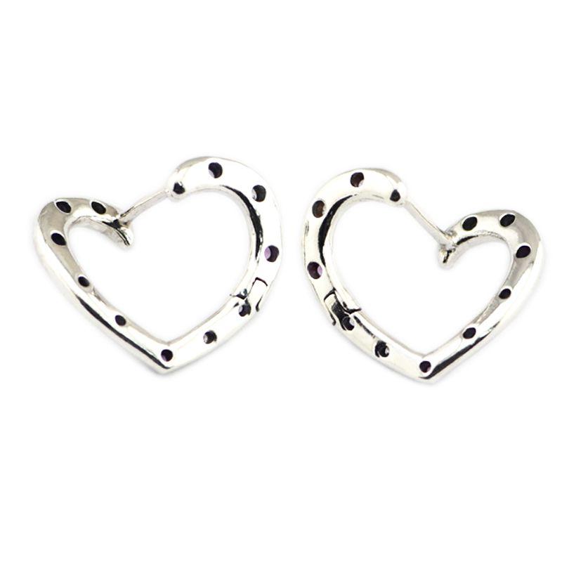 fe64641d2b1b2e 2019 Bright Hearts Hoop Earrings For Women Silver 925 Jewelry Fashion Crystal  Earrings Charm Girls Hoop Hollow Heart Shape From Winterleng, $29.1 |  DHgate.