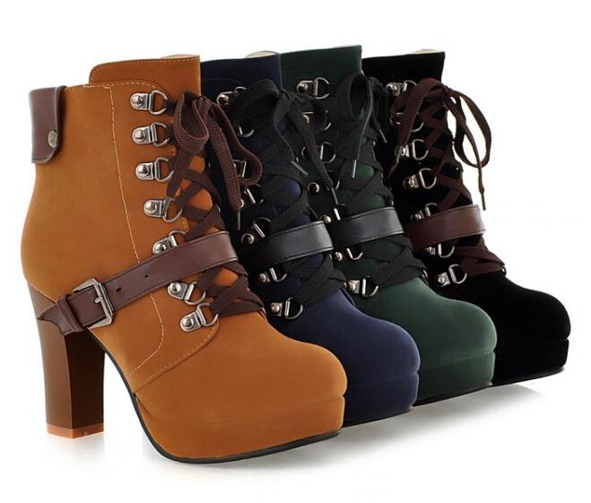 Hot Sale-Vintage Buckle Platform Martin Booties Lace Up Chunky Heel Ankle Boots For Women High Heels Shoes Bigger Size43