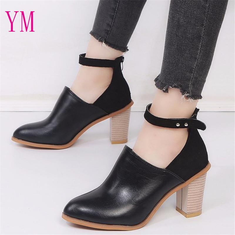 New Ankle Strap High Heels Pumps Square Heels Pointed Toe PU Leather ... 98be957ca0af