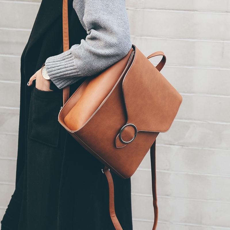 Women 2018 Backpack 2019 Pu Fashionfashion Acquista Leather Retro NnP0w8OkX