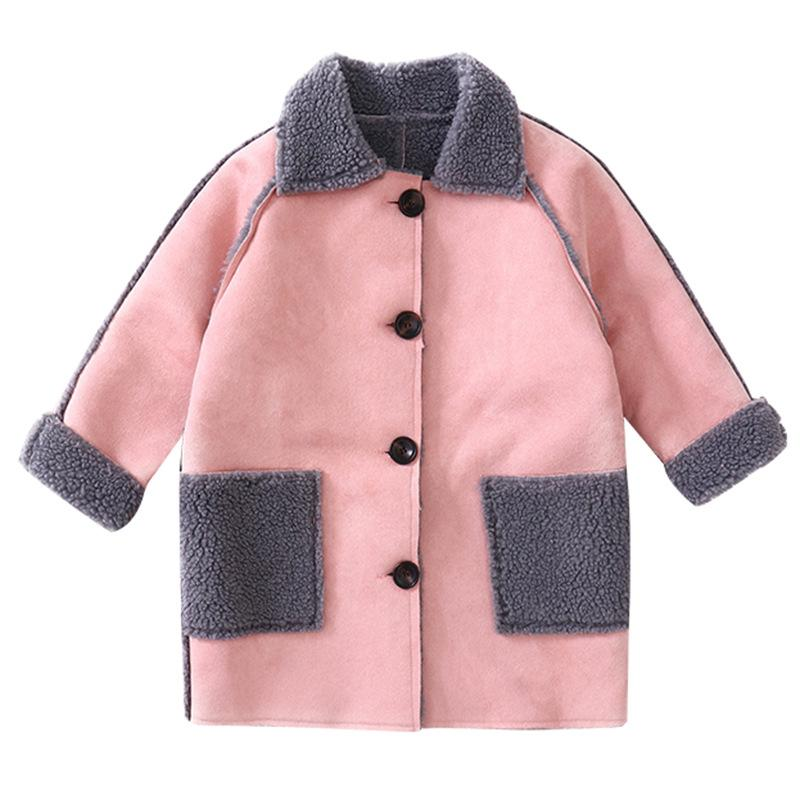bd4c224b6285 Simple Fleece Long Coats Age For 3 10 Yrs Baby Girls Thick Warm Winter  Clothes Pocket Outfits Little Girls Long Sleeve Tops 2019 Puffer Jackets  For Kids ...