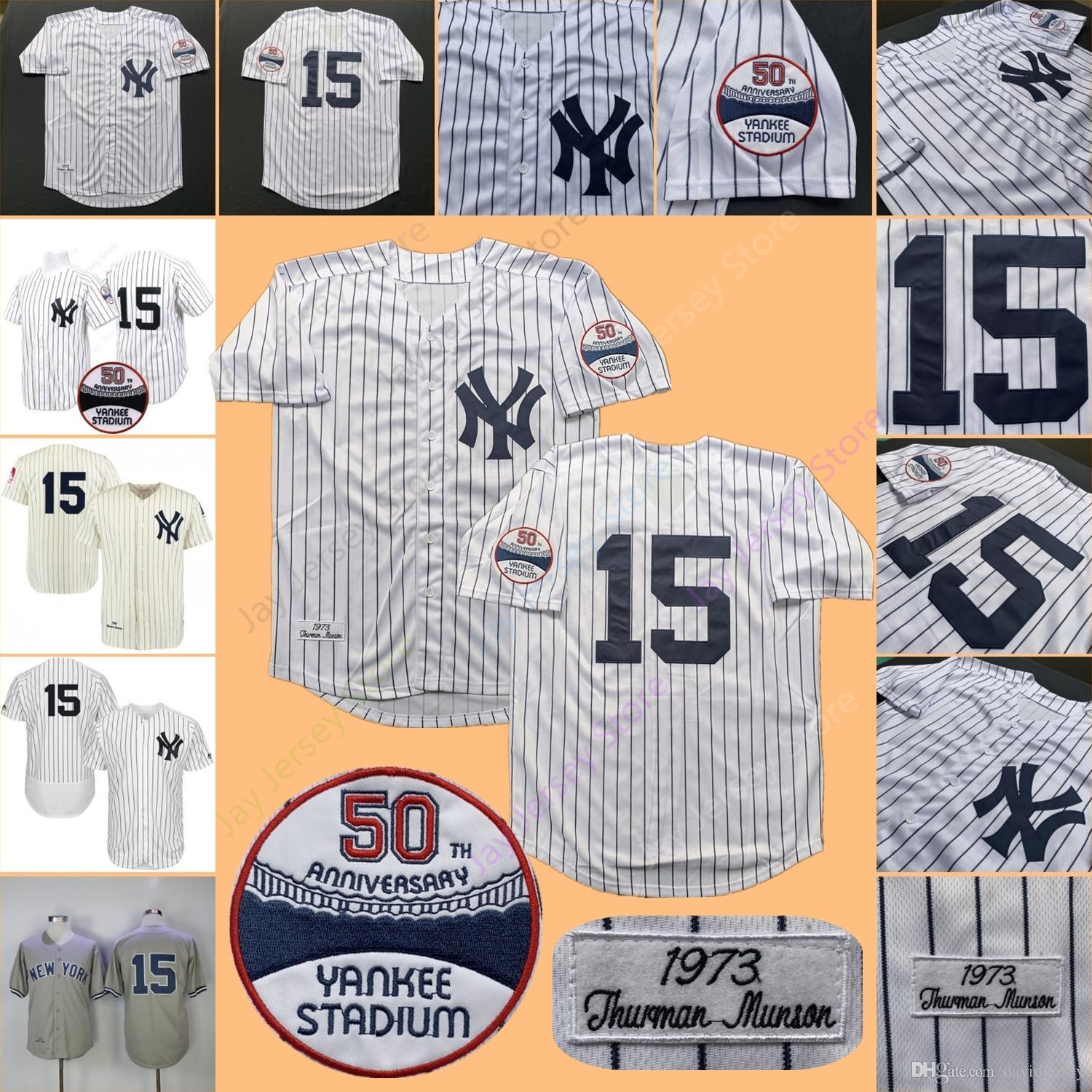 new product d669b 6076d Thurman Munson Jersey Yankees MN 1969 1973 Cooperstown New York Cream White  Pinstripe Grey Black Home Away All Stitched