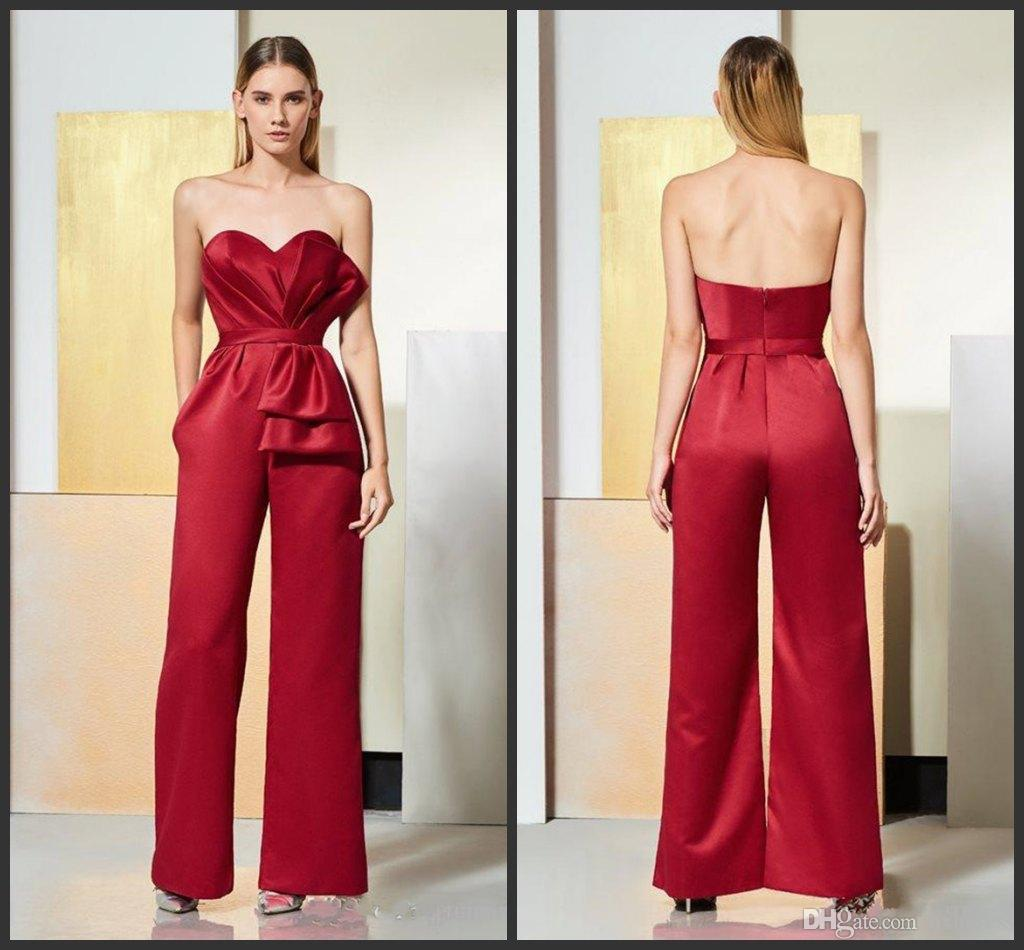 9899844d45 Fashion Dark Red Prom Dresses Jumpsuits Evening Gowns Sweetheart With  Pockets Ruch Satin Cheap Red Carpet Celebrity Party Formal Dress Gown  Purple Dresses ...
