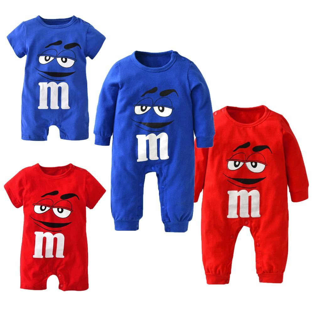 New fashion baby boys girls clothes newborn blue and red Long sleeve Cartoon printing Jumpsuit Infant clothing set