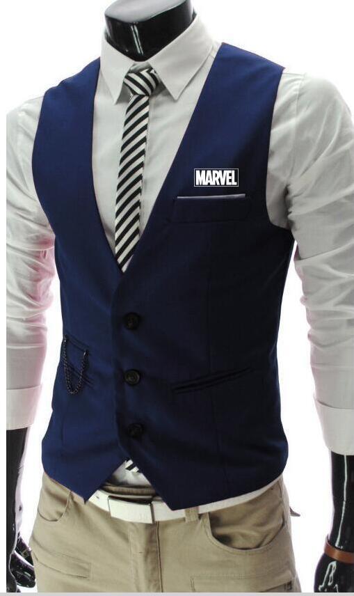 brand new 68aae 1a622 Mode MARVEL eine dünne Herrenanzug Weste Herren Weste Weste lässig ärmellos  dress up Business Volvo Jacke