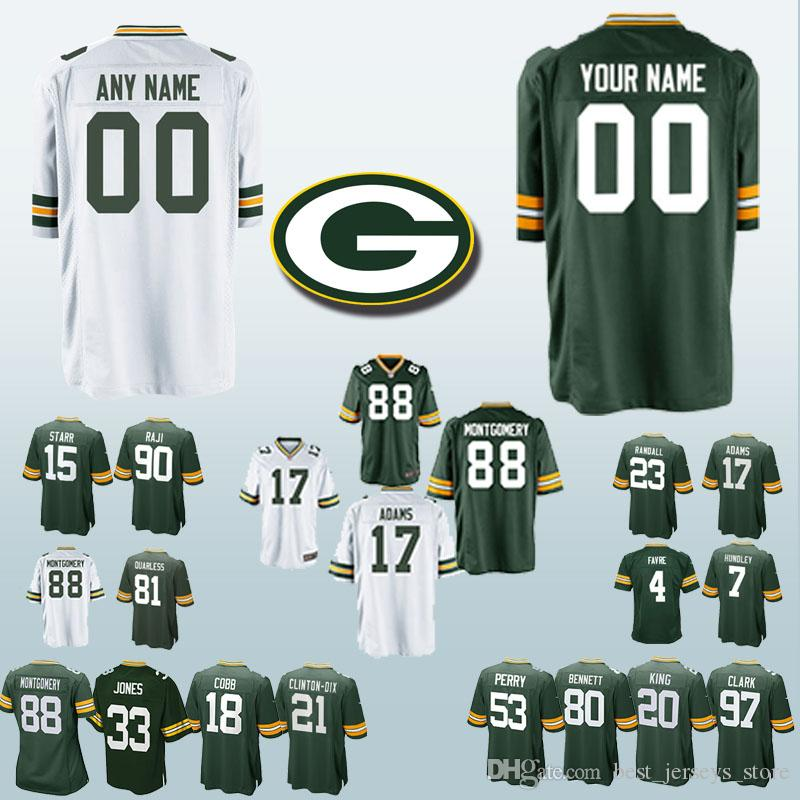 huge discount 8ab3b ad142 Custom Green Jerseys Bays Packer 88 Ty Montgomery 17 Davante Adams 33 Aaron  Jones 81 Geronimo Allison 4 Brett Favre 15 Bart Starr jersey
