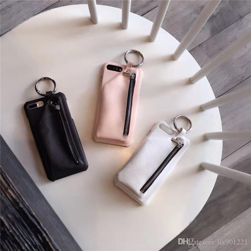 Simple Creative Hand Ring Zipper Bag Pure Color Card Bag Mobile Phone Protective Cover Apply to Apple Mobile Phone