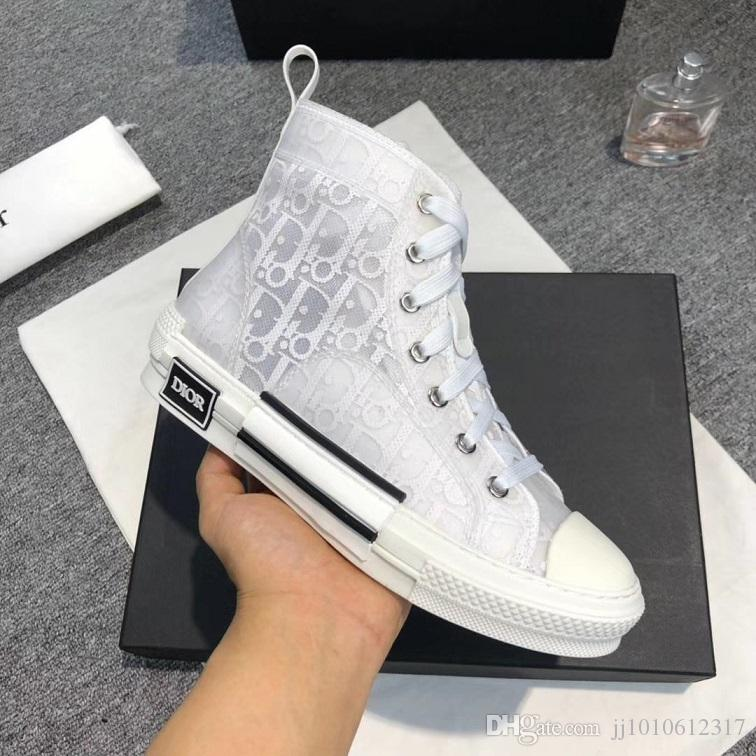 2019Women Shoes Sneakers Lace Up Breathable Fashion Platform High-Top Sneakers In Oblique Chaussures Mode Femme with Original Box Flats Sale