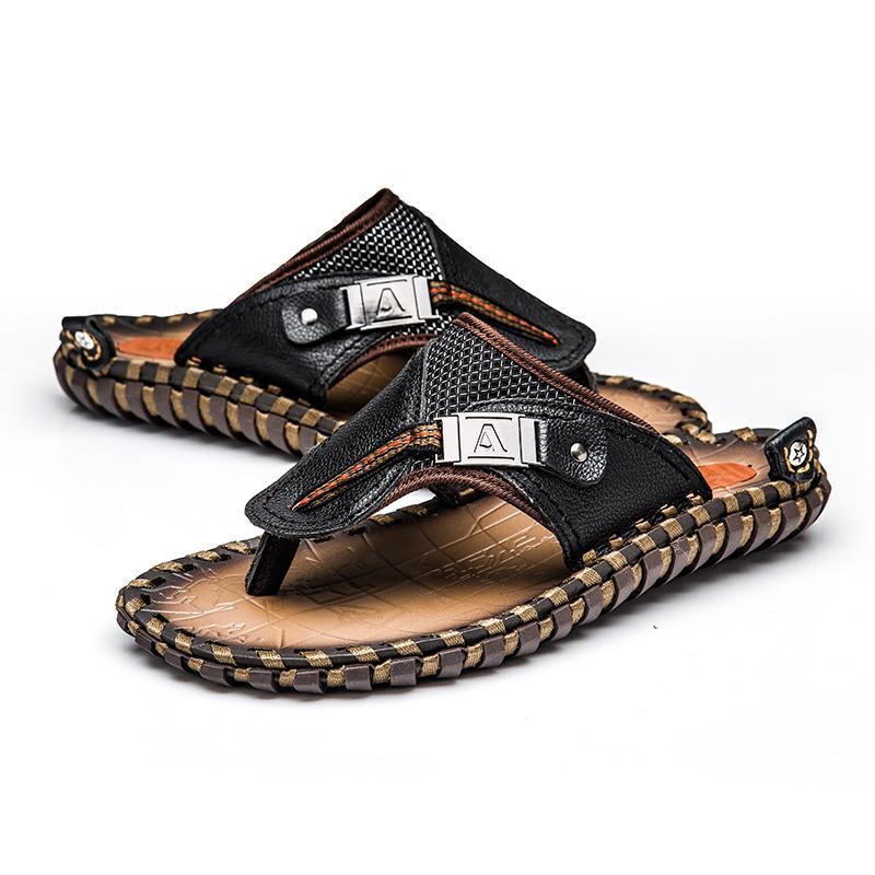 e6b8955e3 Brand Men S Luxury Flip Flops 2018 Genuine Leather Slippers Summer Beach  Shoes For Men Fashion Outdoor Sandals Male Plus Size 48 Desert Boots Mens  Slippers ...