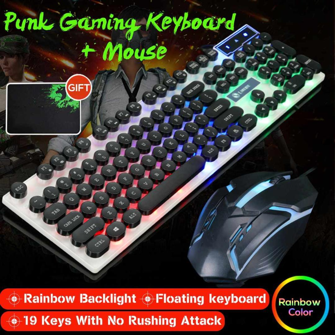 779f9392695 Wired Rainbow LED Backlit Gaming Keyboard Mute Ergonomic Gamers Round Key  Cap Mechanical Feelling Keyboard Mouse Set + Mouse Pad