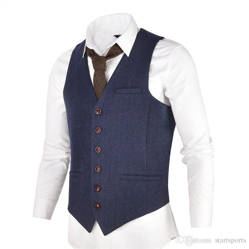 official photos da192 0fc5c VOBOOM Blau Tweed Herren Weste Anzug Modern Fit Wollmischung Einreiher  Herringbone Weste Männer Taille Mantel für Mann 007 # 576054