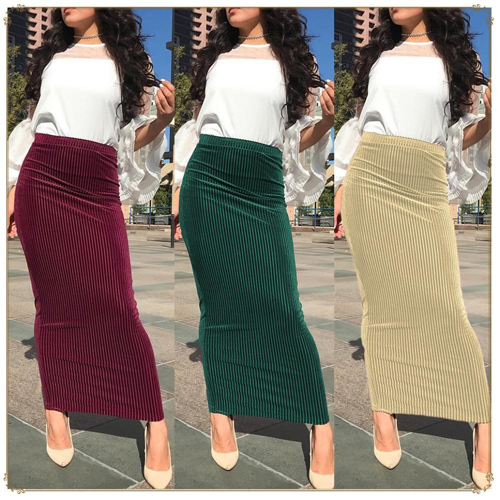 a3bda24023 2019 2019 Fashion Muslim Women Striped Stretch Knit Bodycon Long Skirt  Ankle Length Sexy Pencil Skirts Hip Skirt From Mianbao525, $25.13 |  DHgate.Com
