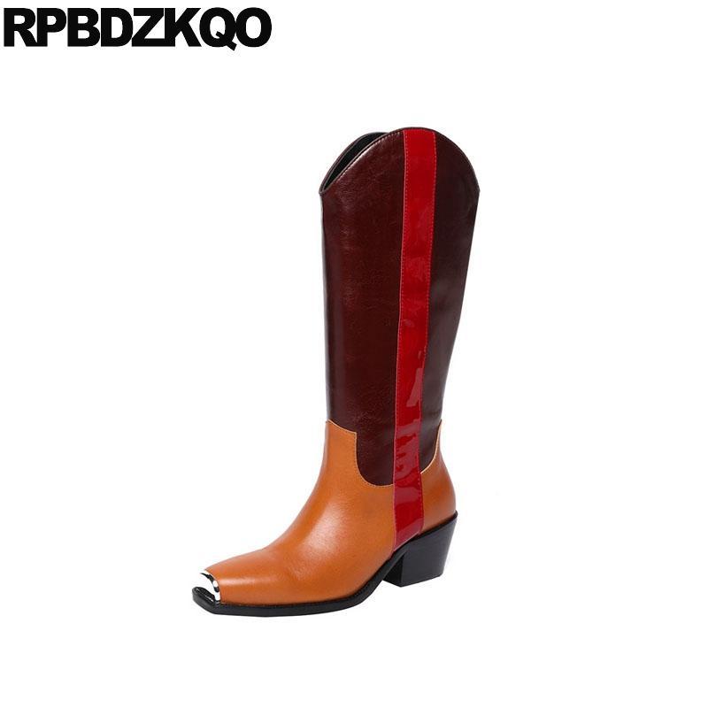 Compre Otoño Botas De Punta Cuadrada Zapatos Largos De Diseño Mujer