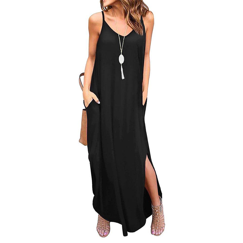 9cef9b2580c6d Women Summer Casual Loose Dress V Neck Sleeveless Beach Cover Up ...