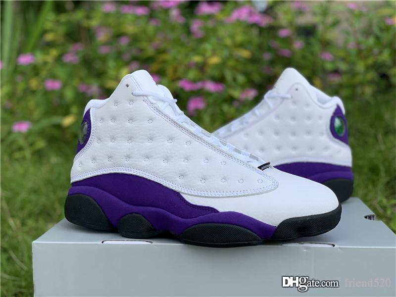 sneakers for cheap 2d099 d08e5 2019 Air Authentic 13 Lakers Rivals XIII 13S Purple White Retro Men  Basketball Shoes Original With Box Real Carbon Fiber