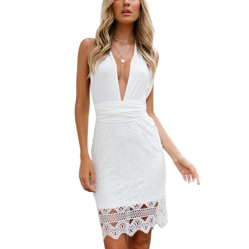 f5861998677e Sexy Women Plunge V Neck Summer Dress 2019 Cross Back Backless Mini Dress  Sleeveless Crochet Lace Party Club Mini Frocks Dresses Buy Women Dress  Floral ...