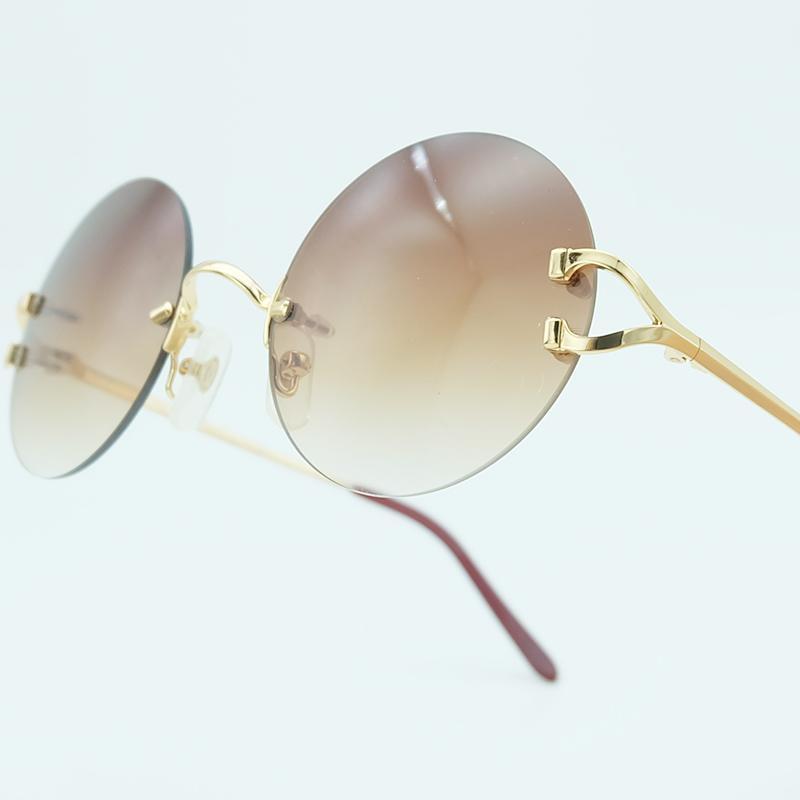 102f215d4e Rimless Sunglasses Round Metal Luxury Brand Design Fashion Mens Sun ...