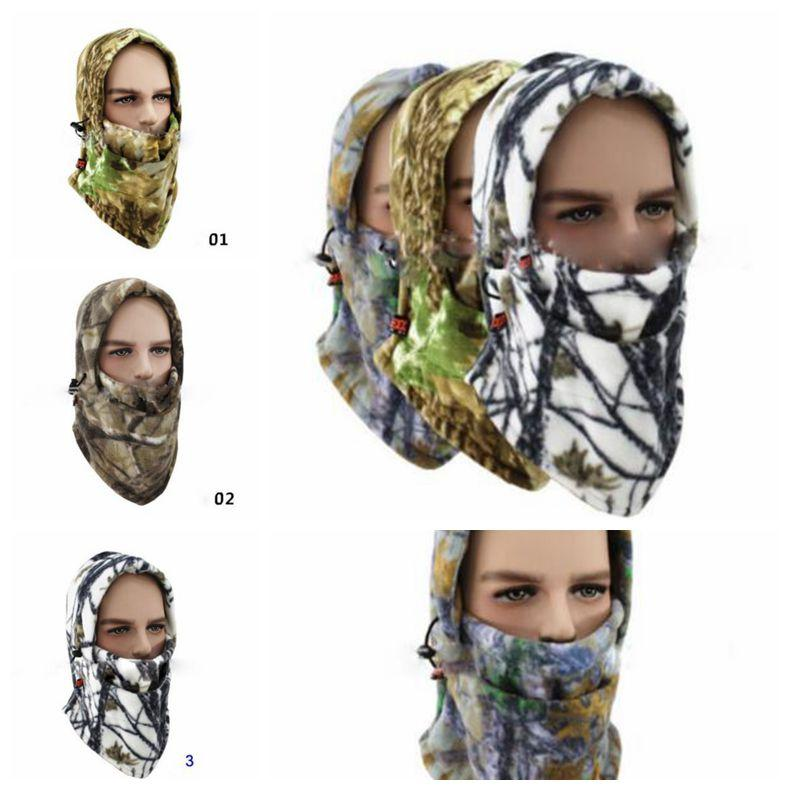 4 Colors Fleece Camo Neck Face Cover Balaclava Hat Cold Weather Hunting Ski Face Mask Outdoor Hats Party Hats CCA10825 36pcs