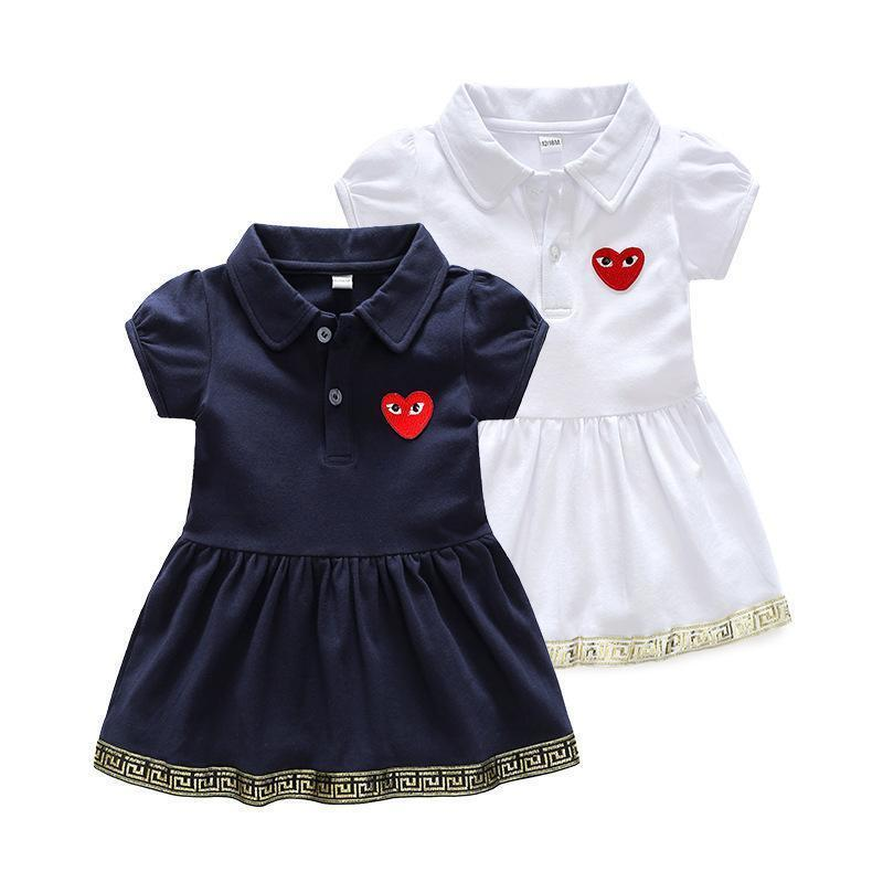 893b1656 Children's Garment Small Virgin Baby Western Style Skirt Summer Short  Sleeve 1-3 T Girl Polo Dress Pure Cotton School Wind Design