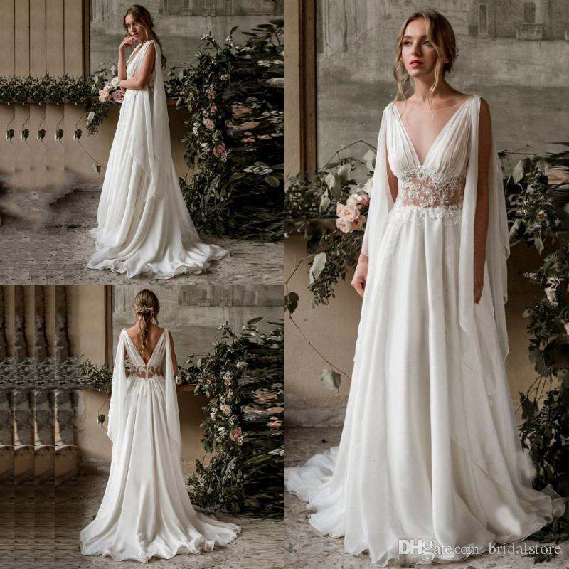 Gallery Bohemian Wedding Dresses: Discount New Bohemian Wedding Dresses A Line Sheer Front