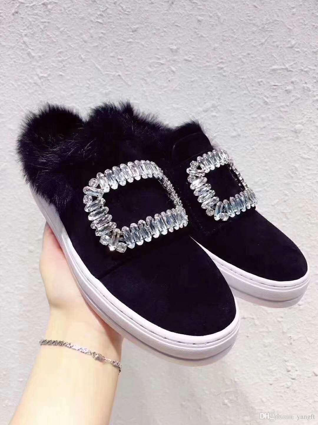 DHL free shipping Warm comfortable and casual home style slippers with rabbit fur Fashion brand new personalized shoes with water drill