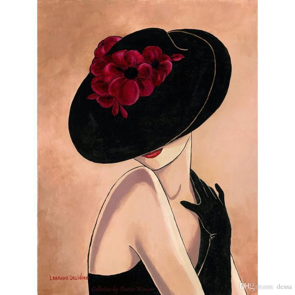 Modern Art lady oil painting dancing Woman in black hat Hand painted bedroom decor