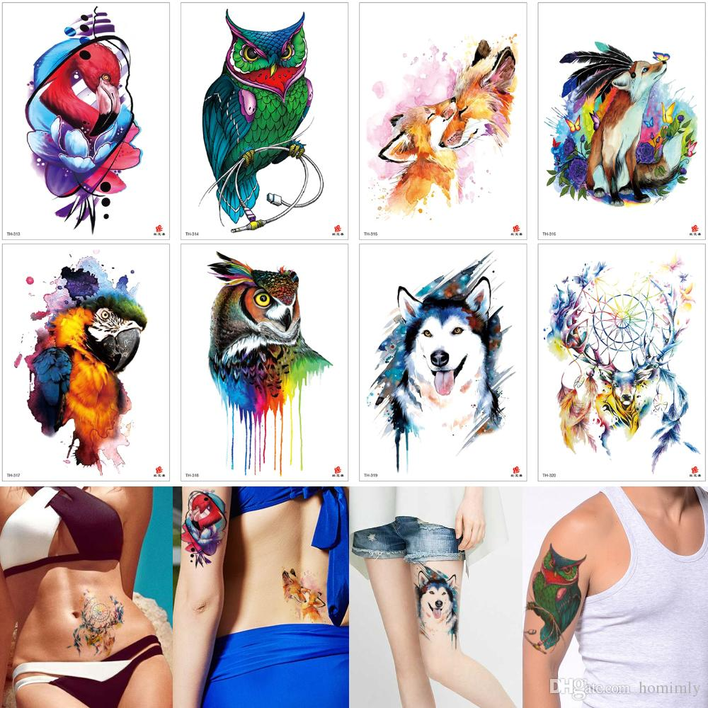 03657525897cf Temporary Tattoo Fashion Waterproof Body Painting Owl Flamingos Wolf  Dreamcatcher Elk Tattoo Designs For Women Men Arm Sleeve Leg Back Decal  School ...