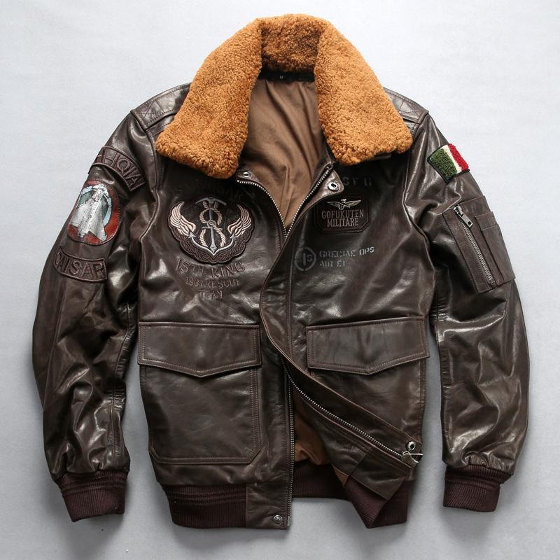 cheaper a18e9 4bc5e Giacca da aviatore Giacca da moto Giacca da moto Collo in pelliccia G1  Cappotto invernale in pelle di montone da uomo in vera pelle di montone