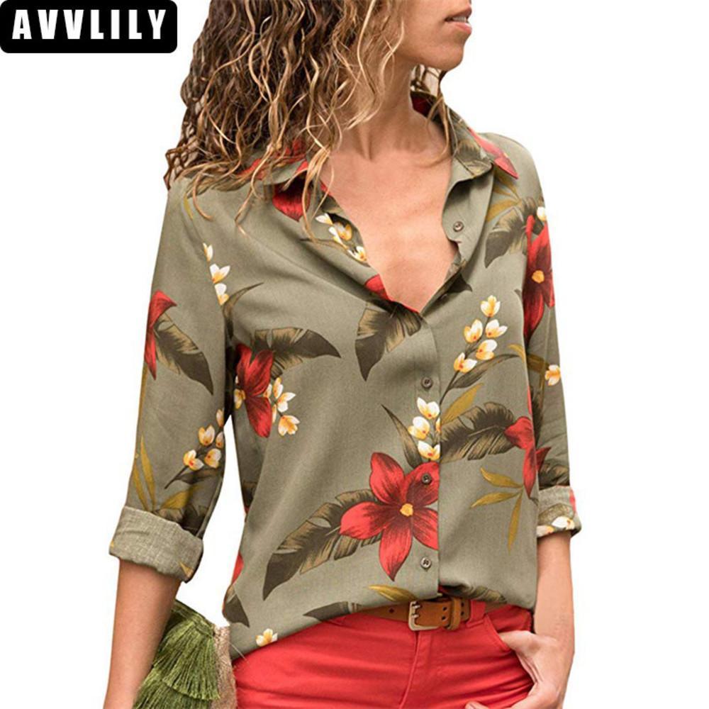 new style 99ee9 24a98 Damen Blusen 2018 Blumendruck Langarm Umlegekragen Bluse Damen Shirts  Gestreifte Tunika Plus Size Blusas Chemisier Femme