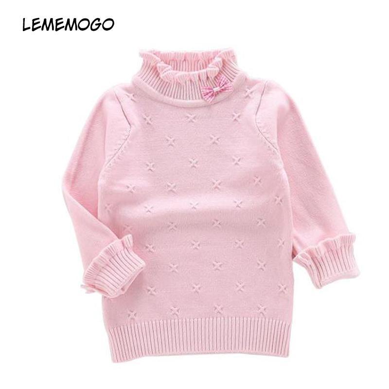 574b4888c Lememogo Autumn Girl Sweaters Children Turtleneck Solid Long Sleeve ...