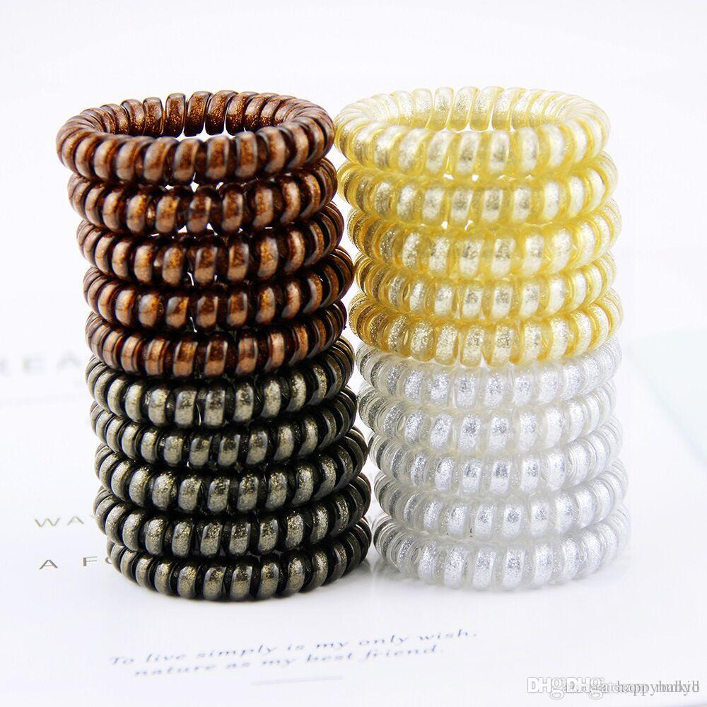 New 40pcs 5.5 cm Metal Color Punk Telephone Wire Coil Hair Tie Gum Elastic Band Girls Rubber Pony Tail Holder Bracelet Stretchy Scrunchies