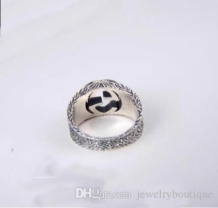 S925 pure silver Engagement Trendy Lovers' ring with hollow words design Lover Couple Rings brand name jewelry PS5445