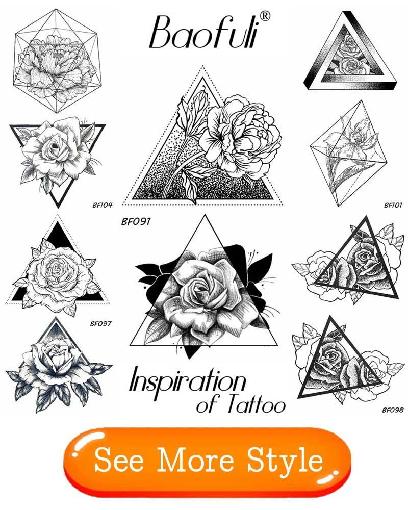 BAOFULI Men Geometric Temporary Tattoo Stickers Leaf Birds Feather Water Transfer Fake Tatoos Women Party Black Body Art Tattoos