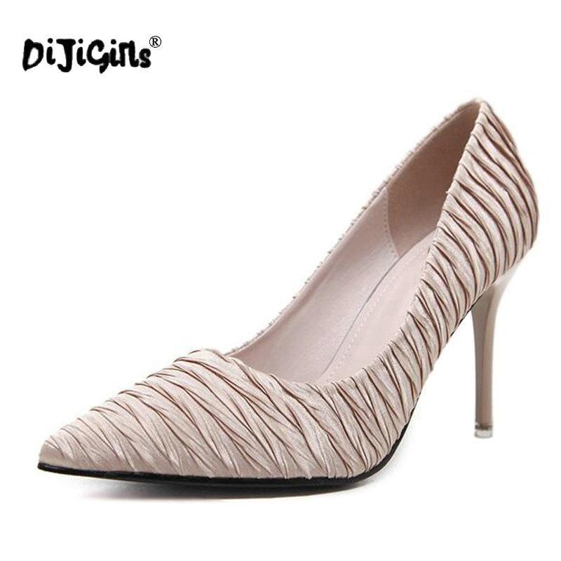 Designer Dress Shoes DIJIGIRLS 2019 New Summer Thin Heels Pumps Ladies Stretch Fabric Pumps Sexy Office & Career Pointed Toe Size 34 - 39