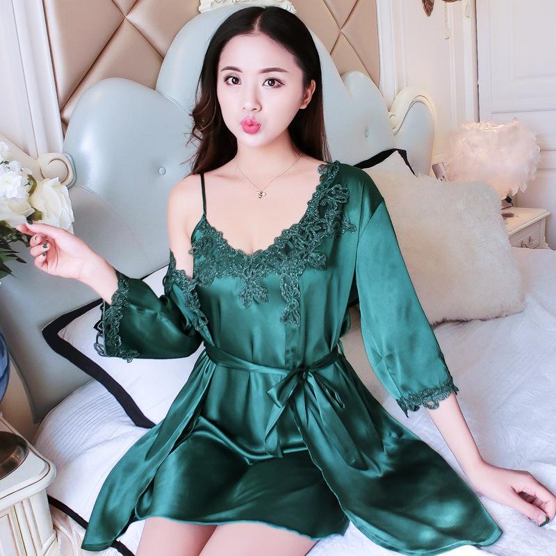 a279d9c69b60c 2019 Women Silk Sexy Lace Robe   Gown Sets Satin Soft Elegant Sleepwear  Spaghetti Strap Nightdress+Dressing Gowns Homewear From Purlove