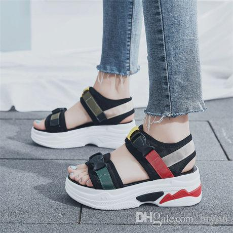 b93ef68cc Muffin Sandals Summer Korean Version Of The New Student Toe Open Red Sandals  Comfortable Sports Flat Soled Beach Shoes Sandals For Girls Chaco Sandals  From ...