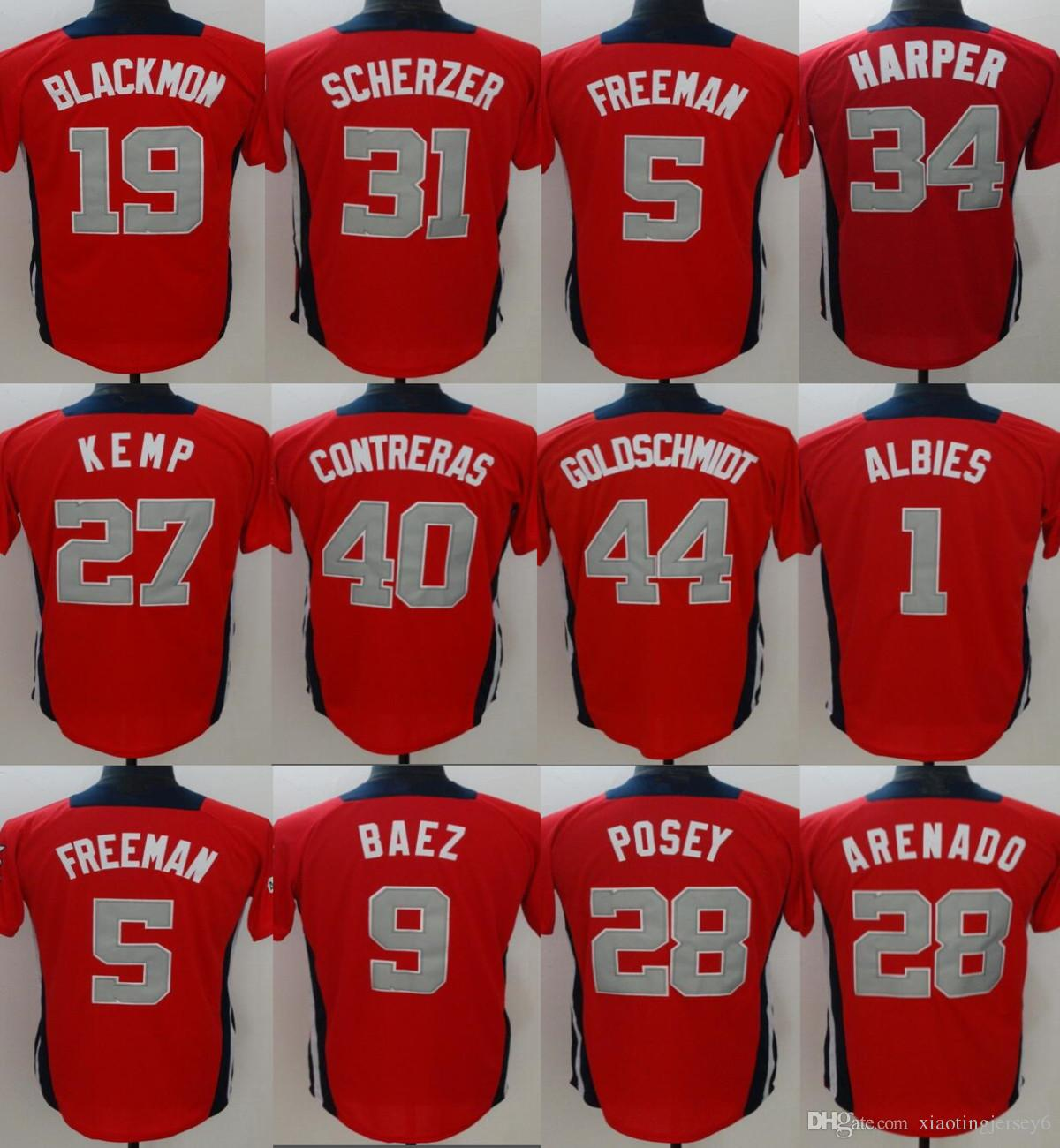2018 Men 2018 All Star Jersey 27 Matt Kemp 1 Ozzie Albies 5 Freddie Freeman  9 Javier Baez Baseball Jerseys Red Size  M 3XL From Xiaotingjersey6 fc40026c3f1