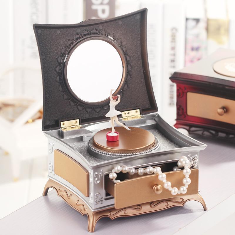 Classique Rotation Fille Boîte à Musique Coiffeuse Avec Vanity Miroir Tiroir Mécanique Boîte à Musique Creative Cadeau D Anniversaire Décor à La