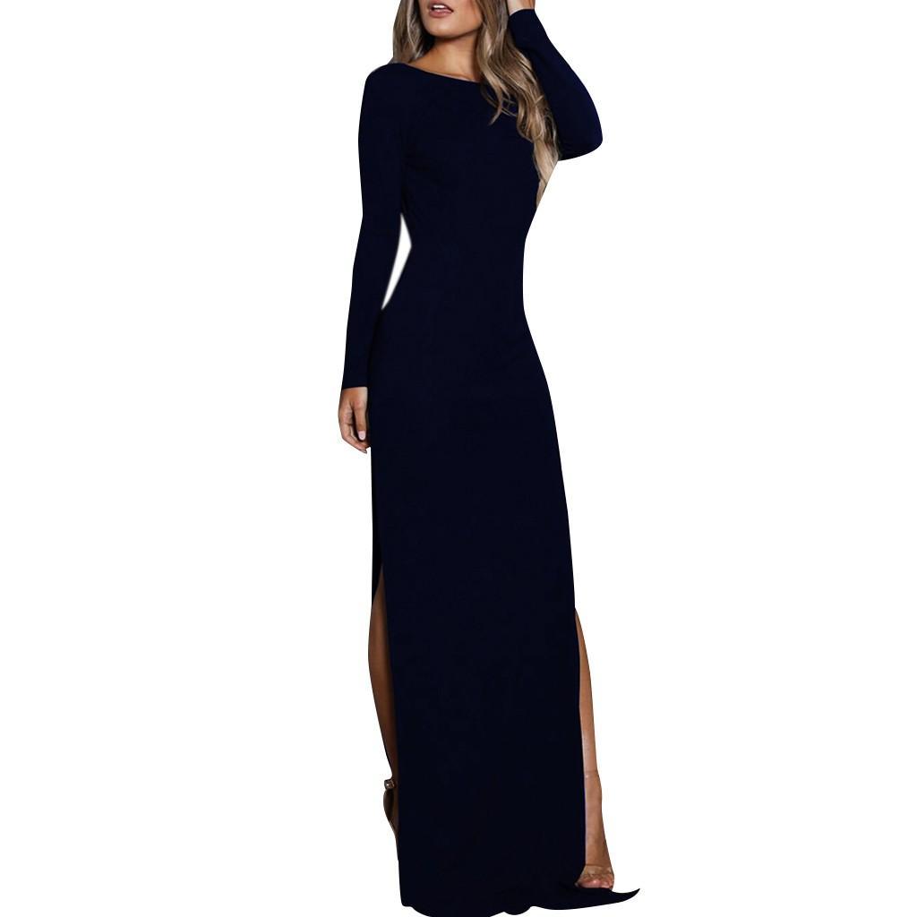 dc642149b6e0 Acquista Donne Inverno Gotico Vestito Da Partito Elegante Manica Lunga  Fasciatura Abiti Da Donna Partito Notte Nero Maxi Vestiti Abbigliamento  Donna 2019 A ...