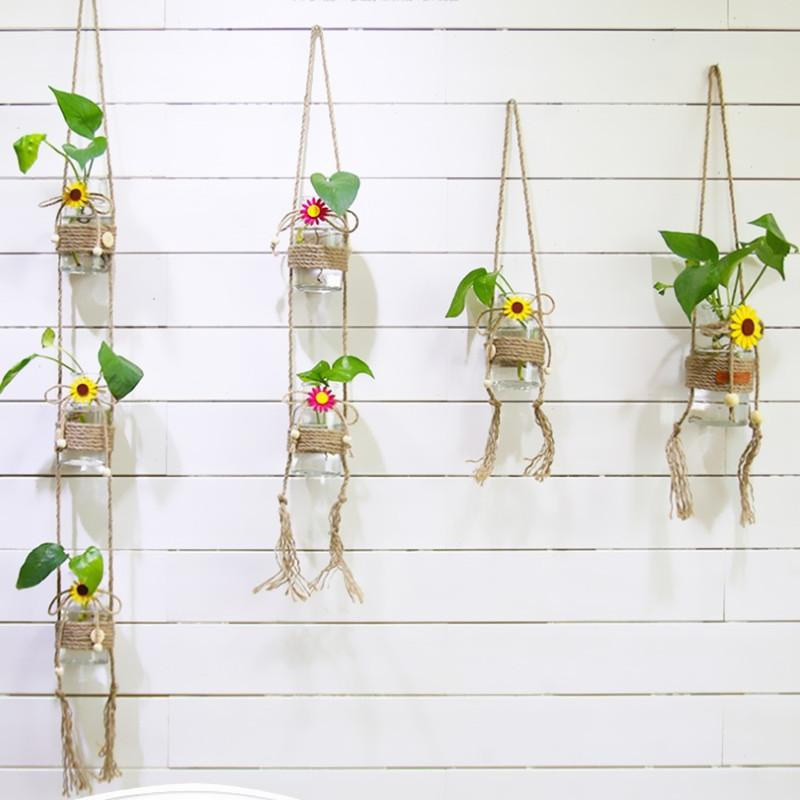 Simple Pastoral Glass Bottles Hydroponic Plants Wind Chimes Ornaments Glass Vases Hanging Windows Balcony Decoration