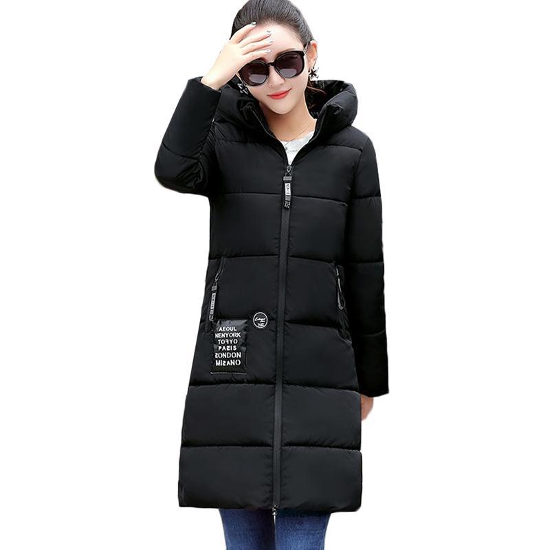 Acquista 2019 NUOVA Giacca Invernale Donna Con Cappuccio In Cotone Caldo  Cappotto Imbottito Femminile Slim Giacca Lunga Donna Parka Outwear Plus Size  ... 42ddfc0968c