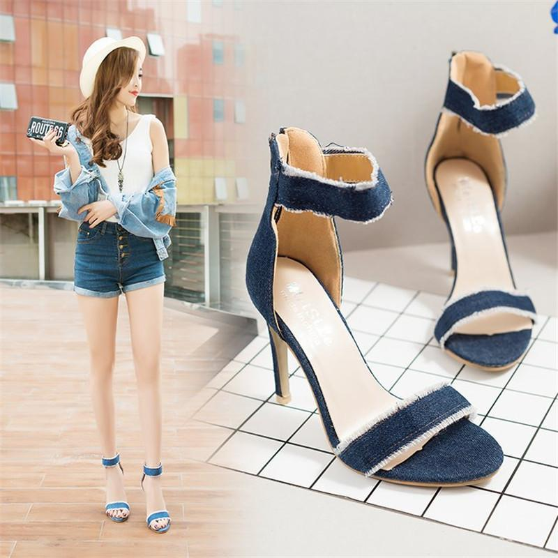 a1116371a92 Designer Dress Shoes Summer New 10cm Fine With High Heeled Word Buckle Bare  Denim Small Fresh Sandals Women S Ultra High Heel Sandals X26 Cheap  Trainers ...