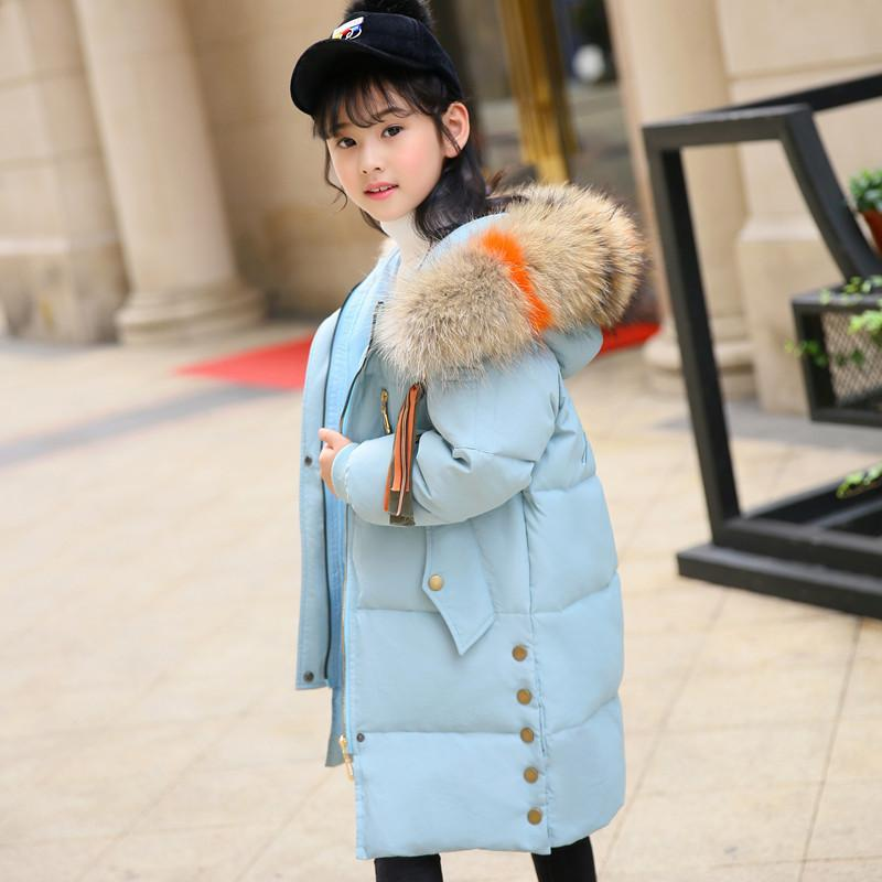 a56eb9090cbe OLEKID 2018 Children Girls Winter Down Jacket Thicken Warm Long Coat ...