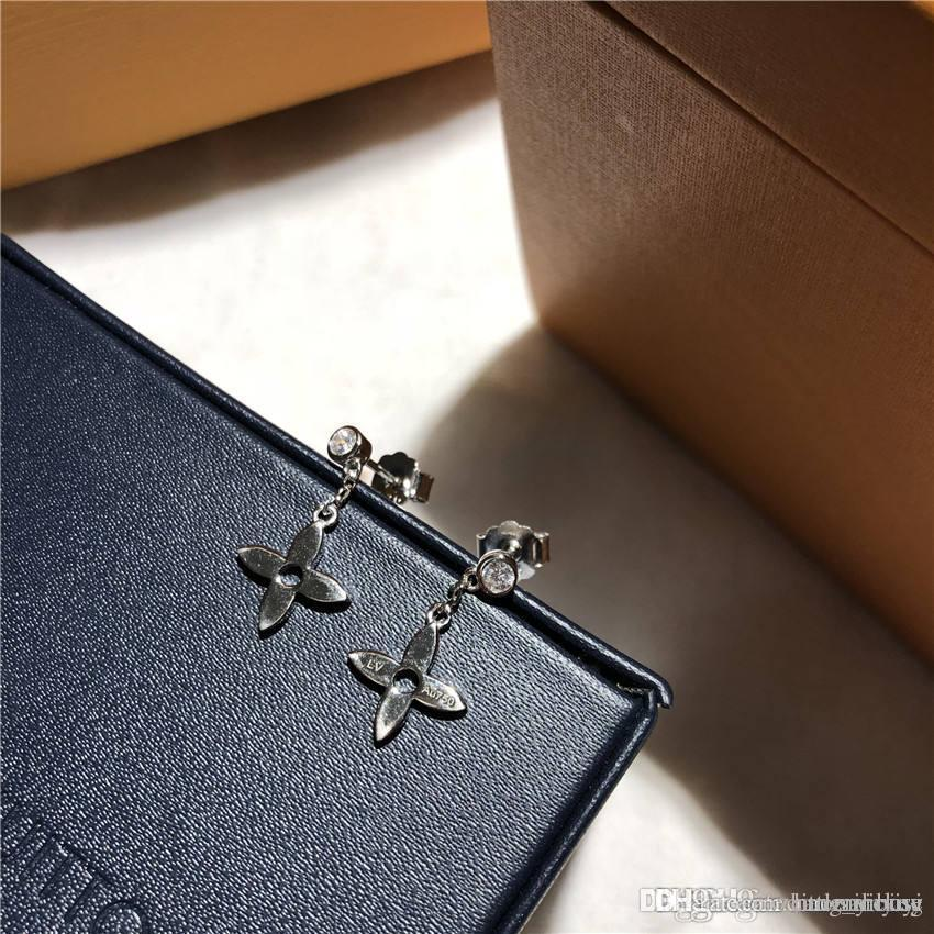 L earrings luxury four leaf cloVer diamond orecchini designer jewelry stud earring fashional monogram resille earings gift