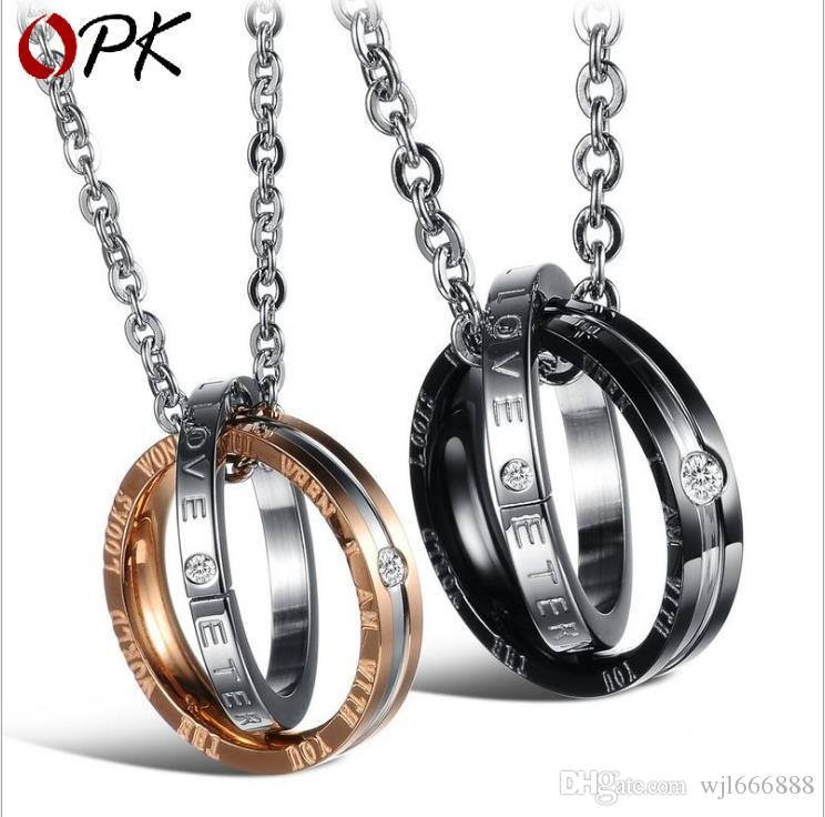 Jewelry fashion new fashion water drill pendant titanium steel necklace