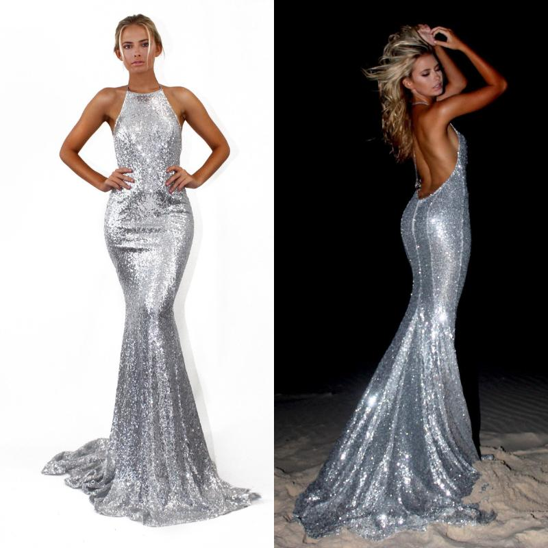 c8683a1aa798 Sexy Sparkly Sequined Mermaid Prom Dresses Long 2019 Halter Backless  Sleeveless Glitter Bling Silver Beach Cocktail Party Evening GownsF369 Sexy  Long Prom ...