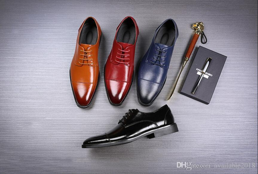 Handmade Designer Vintage Retro Fashion Luxury Casual Wedding Party Brand Male Genuine Leather Mens Derby Dress Shoes