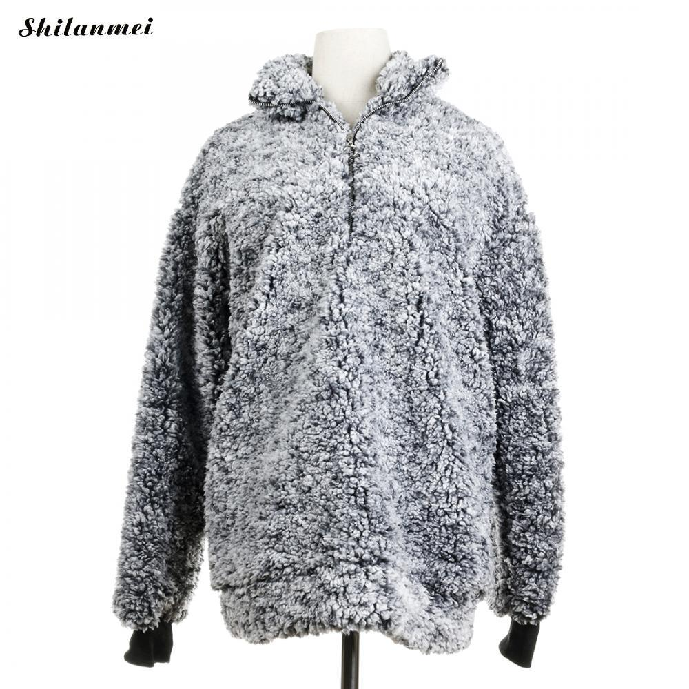 6cbf40c774 Polar Fleece Turtleneck Sweater Women Long Sleeve Blouses 2018 Autumn Winter  Faux Fur Pullovers Top Shirt Female Casual Outwear Cotton Jacket Leather  Jacket ...